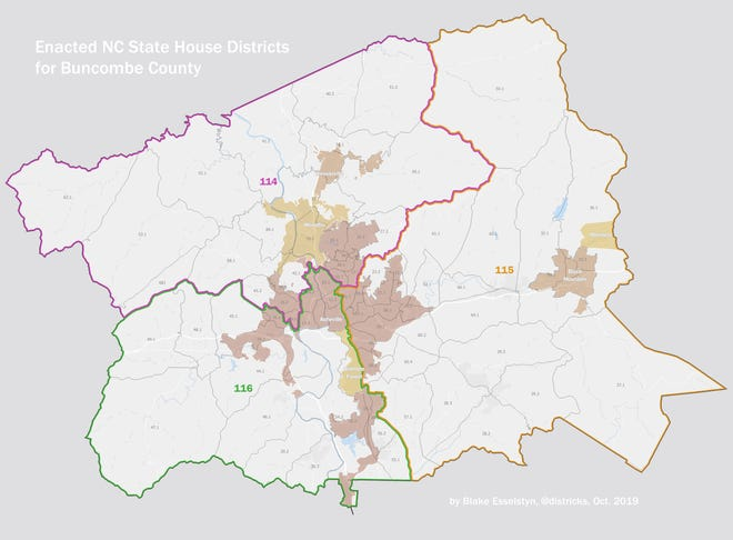 New House districts 114, 115 and 116 as approved by a state court on Oct. 28.  Buncombe's commissioner district lines coincide with those of the House districts. District 1 shares lines with 114, 2 shares with 115 and 3 shares with 116.