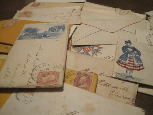 An assortment of Union papers and envelopes of the 1860s.