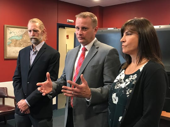 From left: Gordon Anderson, Broome County District Attorney Steve Cornwell and Karen Anderson speak following the announcement of the guilty verdict handed to Orlando Tercerco by a judge in Nicaragua on Nov. 1, 2019.