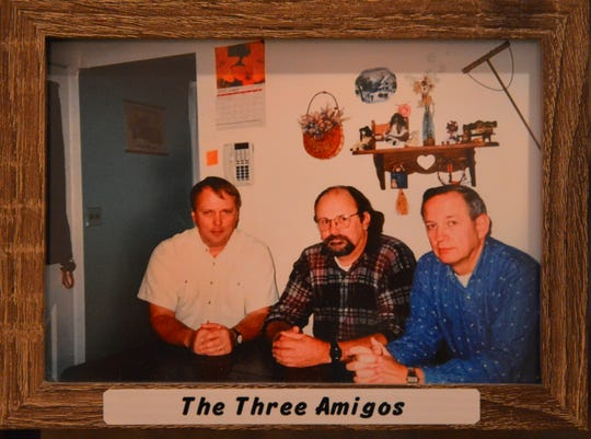 "Sylvia Knight is in home hospice care with the Hospice of St. Francis. Her husband, Dick Knight, a former police officer, passed away in July 2018. This photo, on a table in Knight's living room, shows Dick, at right, with two other police officers: They called themselves ""The Three Amigos."""