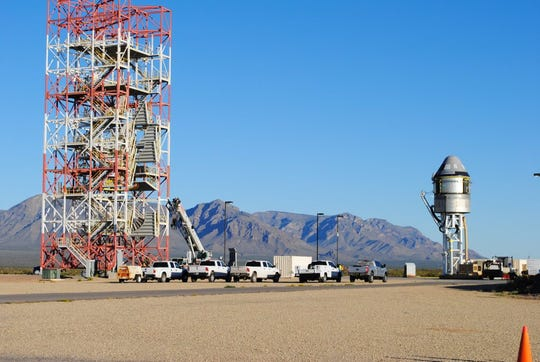 Boeing's CST-100 Starliner spacecraft and its service module sit atop the test stand at White Sands Missile Range in New Mexico ahead of the company's Pad Abort Test. The test is scheduled for Nov. 4, 2019, and will demonstrate the spacecraft's ability to quickly escape the launch pad in the event of an emergency on launch day.
