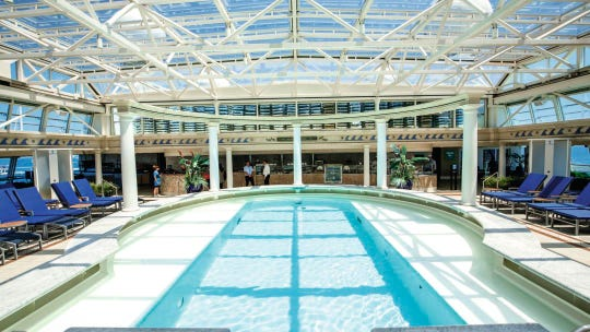 This is a view of a pool area on the Marella Discovery.