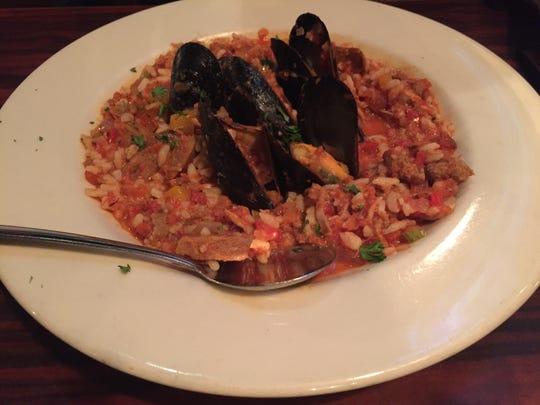 A bowl of creole jambalaya at Shelburne Tap House.