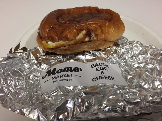 A bacon, egg and cheese sandwich from Momo's Market in Burlington.