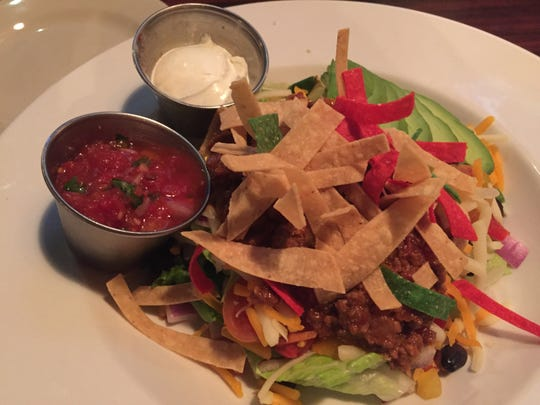 A taco salad with ground beef at the Shelburne Tap House.