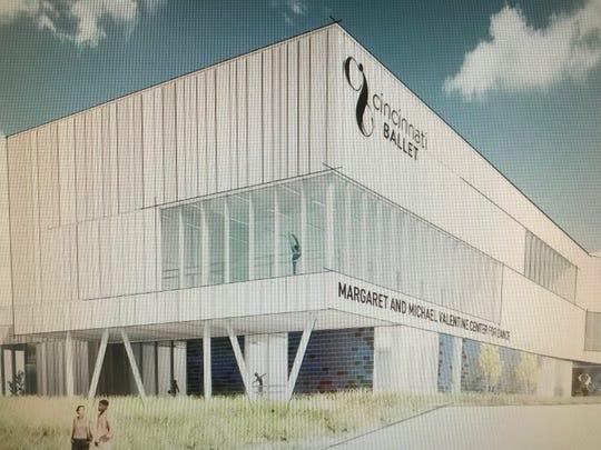 An artist's rendering of the Cincinnati Ballet's planned new dance center in Walnut Hills