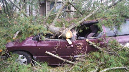 Carmen Ruiz mini van destroyed after Clarksville's major storm on Saturday, Oct. 27, 2019