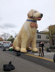 Sen. Elizabeth Warren gets a hug in front of an inflatable representation of her golden retriever, Bailey, in downtown Des Moines before the Liberty and Justice Celebration on Nov. 1.
