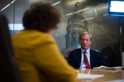 2020 presidential candidate Tom Steyer meets with the Register's editorial board on November 1, 2019.