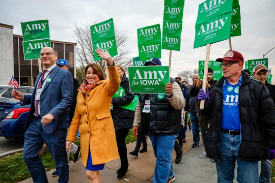 Presidential candidate U.S. Sen. Amy Klobuchar, D-MN. marches to the Liberty and Justice Celebration Friday, Nov. 1, 2019.