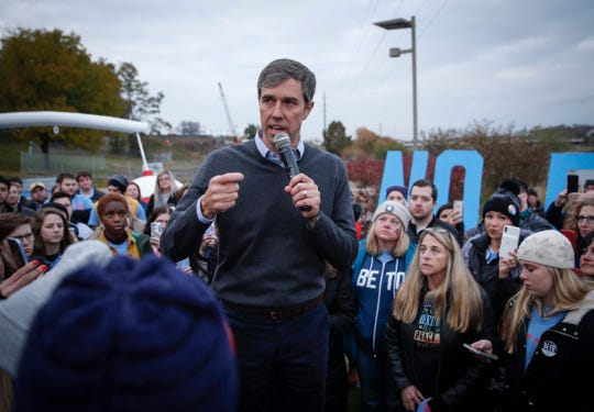 Former Democratic presidential candidate hopeful Beto O'Rourke announces that he is dropping out of the race on Friday, Nov. 1, 2019, before a swarm of heartbroken supporters in Des Moines.