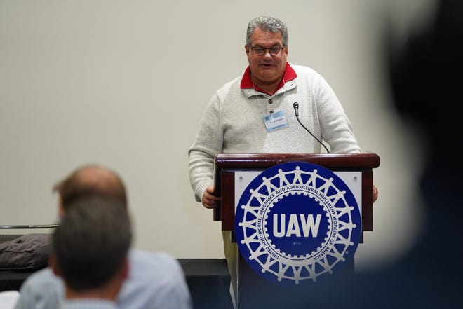UAW spokesman Brian Rothenberg talks with press following the UAW-Ford Council Meeting over whether to take a proposed tentative agreement to a ratification vote of members at the TCF Center in Detroit on Friday, November 1, 2019.