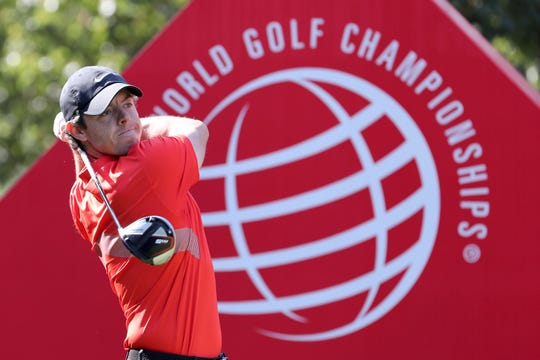 Rory McIlroy of Northern Ireland tees off for the HSBC Champions golf tournament.