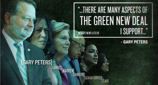 Restoration PAC us running this advertisement that questions Sen. Gary Peters' stance on the Green New Deal.