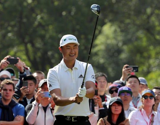 Li Haotong of China finished 8-under 64 Thursday.