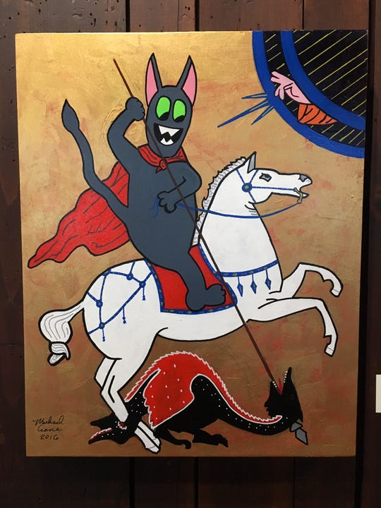 "On the Scarab Club's second floor is Michael Crane's show, ""Cats Rule."" Wacky and well worth a look."