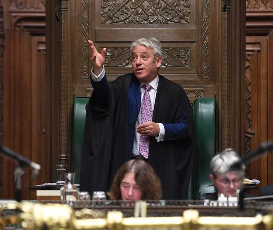 In this photo released by the UK Parliament, Speaker of the House of Commons John Bercow gestures during his final day in the Chair in the House of Commons, in London, Thursday, Oct. 31, 2019.