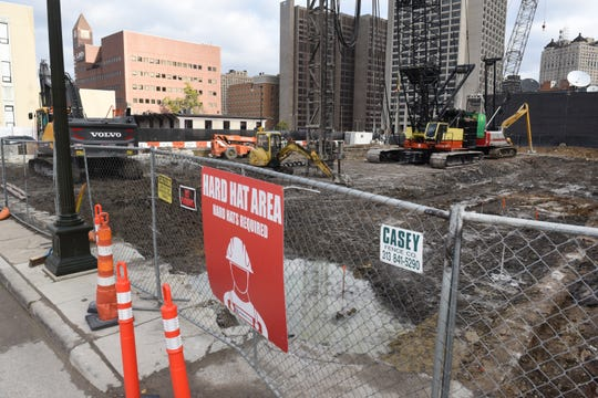 This is the construction site of the Cambria Hotel in downtown Detroit.