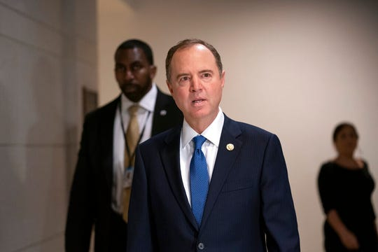 House Intelligence Committee Chairman Adam Schiff, D-Calif., arrives at the Capitol to oversee the deposition of Tim Morrison, a former senior National Security Council official, in the impeachment inquiry of President Donald Trump, in Washington, Thursday, Oct. 31, 2019.