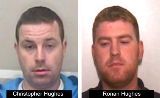 This undated photo issued on Tuesday Oct. 29, 2019 by Essex Police shows Ronan Hughes, right, and his brother Christopher Hughes from Northern Ireland, as the investigation widens into the deaths of 39 people who were found in truck container in southeastern England. Both are wanted on suspicion of manslaughter and human trafficking.