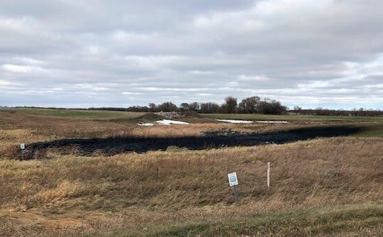 This Wednesday, Oct. 30, 2019 photo provided by the North Dakota Department of Environmental Quality shows affected land from a Keystone oil pipeline leak near Edinburg, North Dakota. Regulators said TC Energy's Keystone pipeline leaked an estimated 383,000 gallons of oil in northeastern North Dakota, though the cause was still under investigation.