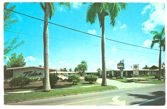 Vintage postcard of the Tides Motel 2621 First St., Route 80, Fort Myers, Fla. The hotel, located near the Caloosahatchee River, featured efficiency and overnight units, air conditioning and heat, room phones. TV, free continental breakfast, a swimming pool, and fishing pier. The motel was within walking distance of downtown. Photo courtesy of Woodward S. Hanson.