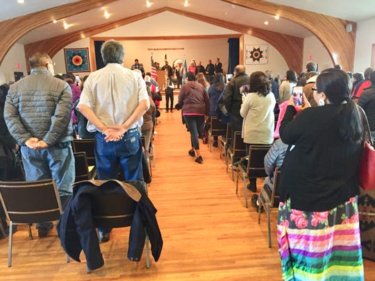The swearing-in ceremony for Fort Peck Assiniboine and Sioux tribes was held Monday in the Greet the Dawn Auditorium at Fort Peck Community College.