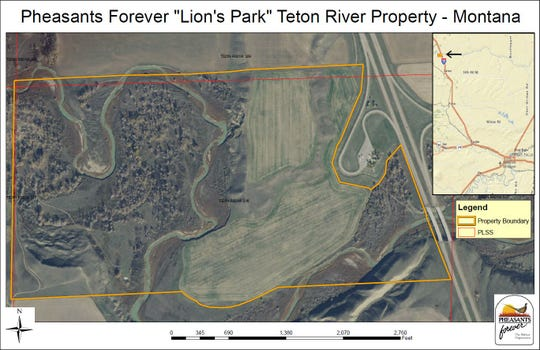 A detailed area view of the Teton River Wildlife Area