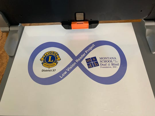 A reminder of the MSDB and Lions Club collaboration is located on every tray table of the new, portable devices.