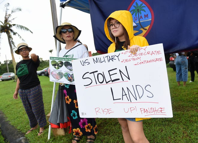 Members of Prutehi Litekyan: Save Ritidian stage a peaceful protest against the Department of Defense and the military buildup across Joint Region Marianas on Nimitz Hill in this Nov. 1, 2019, file photo.