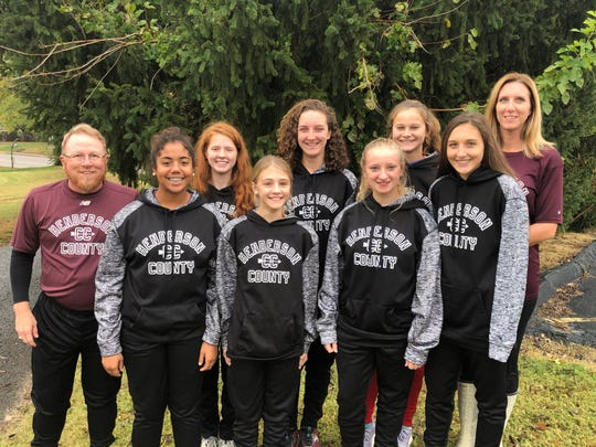 The Henderson County girls cross country team will compete in the KHSAA 3-A state cross country championship Saturday at the Kentucky Horse Park in Lexington. Team members are, front row from left, Arianna Decker, Allina Decker, Addison Grossman, Hallie Mattingly, back row, coach Mike Sprague, MacKenzie Webb, Alyssa Shelton, Sara Krampe and assistant coach Sara Shelton.