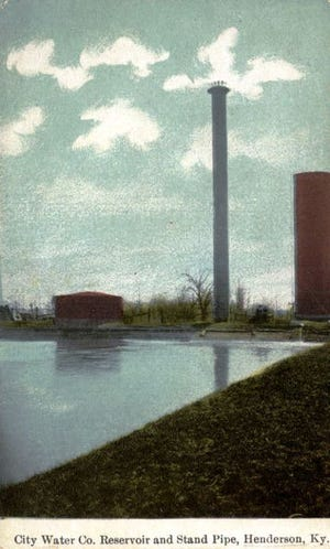 The city's standpipe  stood 100 feet tall between August 1896 and Jan. 11, 1945, as depicted in this 1910 postcard, which also shows a portion of Henderson's original water reservoir that was located where the Atkinson Park Medical Building is now. The reservoir was used between 1876 and 1946.
