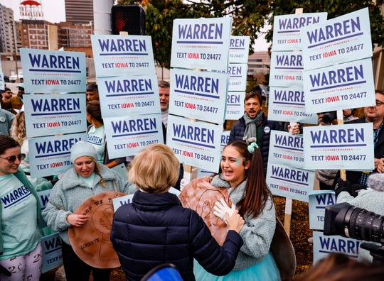 Democratic presidential candidate Sen. Elizabeth Warren, D-Mass., greets supporters gathered before the the Liberty and Justice Celebration Friday, Nov. 1, 2019.