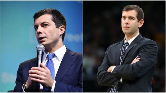 Presidential candidate Pete Buttigieg (left) dressed as former Butler basketball coach Brad Stevens (right) for Halloween.