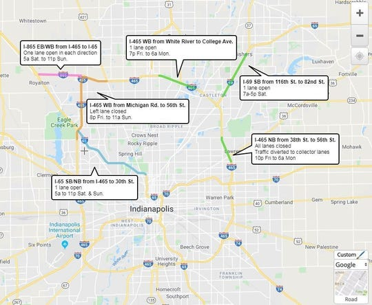 Lane closures and restrictions on Indianapolis interstates for the weekend of Nov. 1-4, 2019.