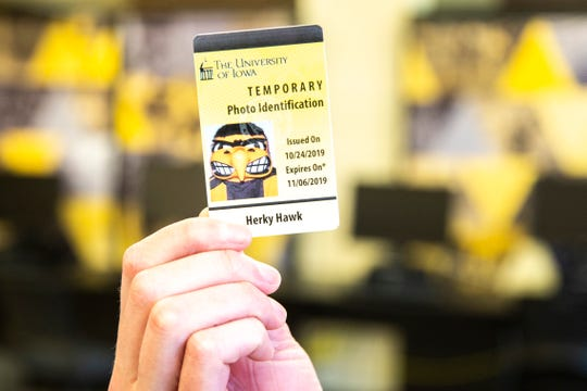 A temporary Iowa One Card for Herky Hawk is pictured, Friday, Nov., 1, 2019, at the Iowa Memorial Union on the University of Iowa campus in Iowa City, Iowa. The One Card is the photo identification card for University of Iowa students.