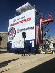 The 20-foot tower where Scott Burns, founder of 7 Days for The Troops, plans to spend seven days atop the tower at the Outlets of Mississippi, located at 200 Bass Pro Drive in Pearl, to raise money for veterans on Friday, Nov. 1.
