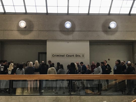 Dozens of people packed a Knox County courtroom during the sentencing hearing Friday, Nov. 1, 2019, for three people charged in connection with death of Gibbs High School sophomore Zach Munday.