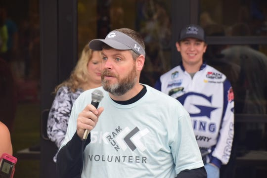 Head of Schools Tony Pointer offers a few words of encouragement and inspiration at the inaugural Ram Run 5K held at Grace Christian Academy Saturday, Oct. 26.