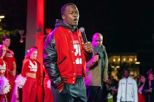 UL football player Deuce Wallace talks on stage during the Yell Like Hell Homecoming week pep rally at the UL Student Union on Thursday, Oct. 31, 2019.