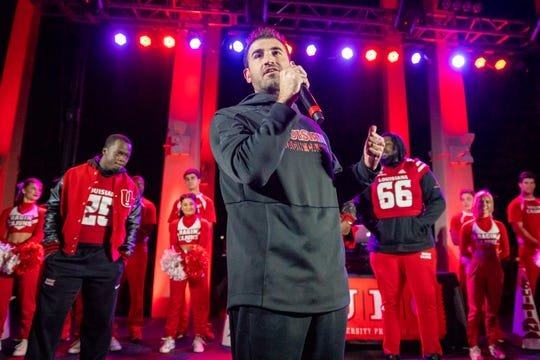 Because of the coronavirus crisis, UL strength and conditioning coach Mark Hocke, shown here during a homecoming pep rally last season,  can't work hands-on with Ragin' Cajun football players this spring.