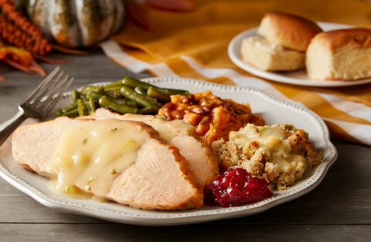On Thanksgiving Day, Cracker Barrel will serve a Thanksgiving meal featuring traditional dishes. The Homestyle Turkey n' Dressing Meal comes complete with turkey, gravy, a sampling of sugar-cured ham, sweet potato casserole, cranberry relish, choice of a country side, a refillable beverage, buttermilk biscuits or corn muffins, and a slice of pumpkin pie for dessert.