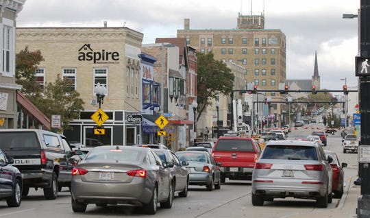 A view of downtown Manitowoc as seen, Tuesday, October 29, 2019, in Manitowoc, Wis.