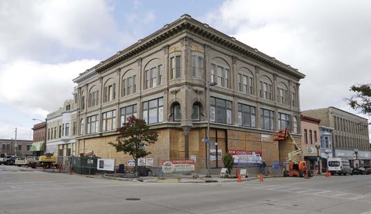 A scene showing progress on creating The Historic Schuette Building Apartments, Tuesday, October 29, 2019, in Manitowoc, Wis.