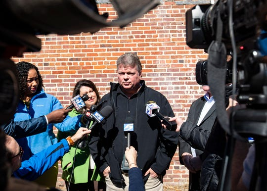 Mississippi Attorney General Jim Hood address the media prior to the President Trump rally at BancorpSouth Arena in Tupelo, Miss., Friday Nov.1, 2019