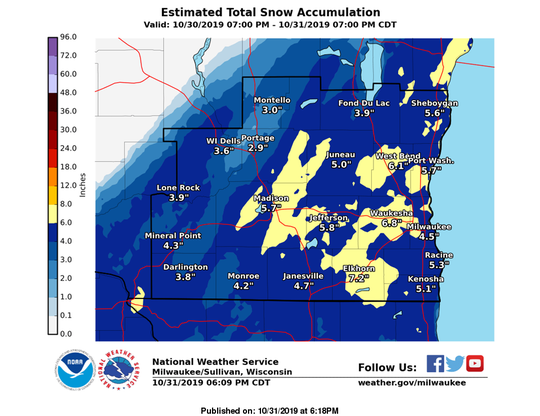 Estimated total snow accumulation across Oct. 30 and Oct. 31 for southeast Wisconsin.