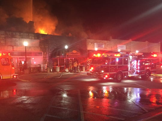 Fire destroyed the Olde Tyme Restaurant on the east side of the Mountain Home Square on Thursday night.