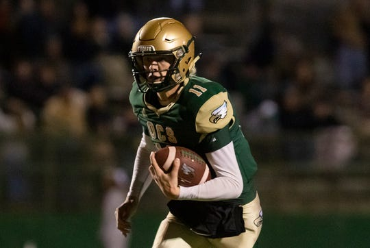 OCS quarterback Hunter Herring (11) is the first repeat winner of the Guerriero & Guerriero High School Hero award for the 2019 season.