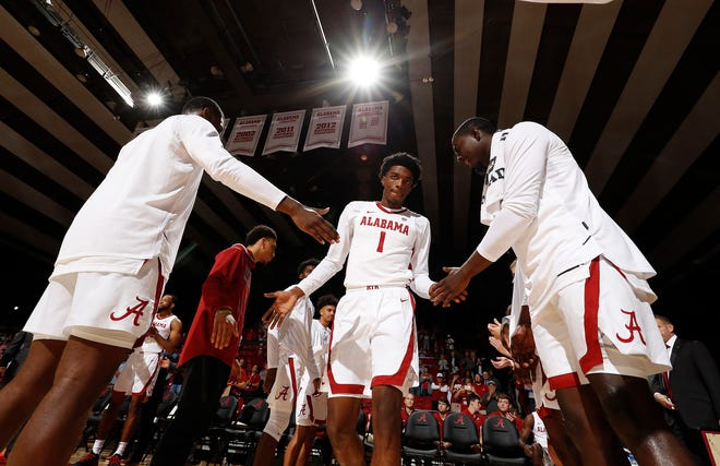 Alabama junior wing Herb Jones is introduced as a starter prior to the Crimson Tide's 93-65 exhibition win over Georgia Tech on Oct. 27, 2019 inside Coleman Coliseum in Tuscaloosa. (Photo courtesy of Alabama athletics)