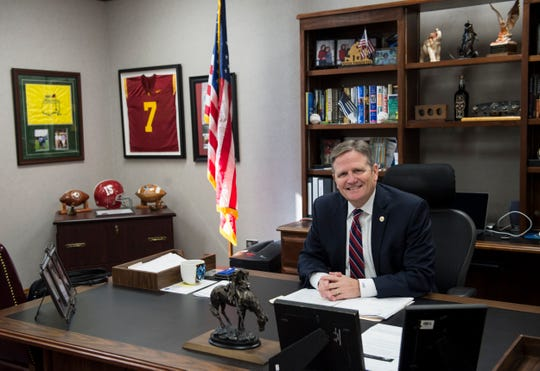 Alabama Department of Corrections Commissioner Jeff Dunn poses for a portrait in his office in Montgomery, Ala., on Friday, Nov. 1, 2019.